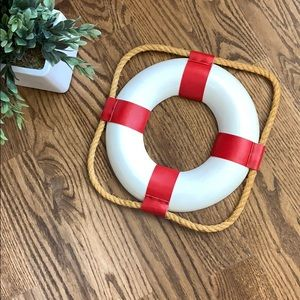 White Lifebuoy Lifering With Red Bands Decor